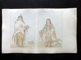 Catlin 1857 HCol North American Indian Print. Pah-too-ca-ra & Pshan-shaw 83-84